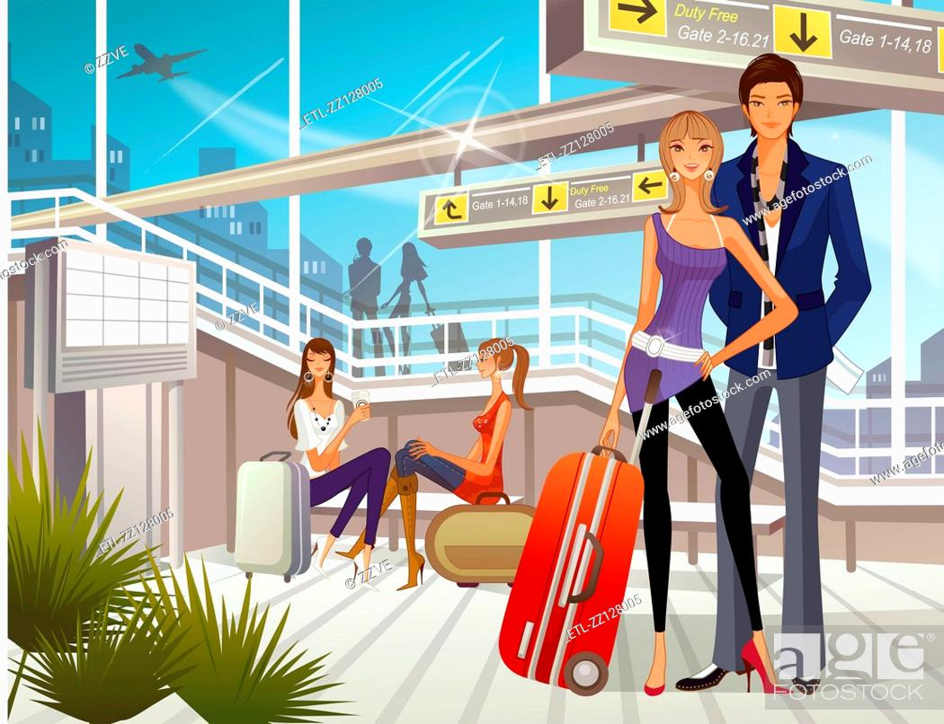Stock Photo: People waiting at airport lounge.
