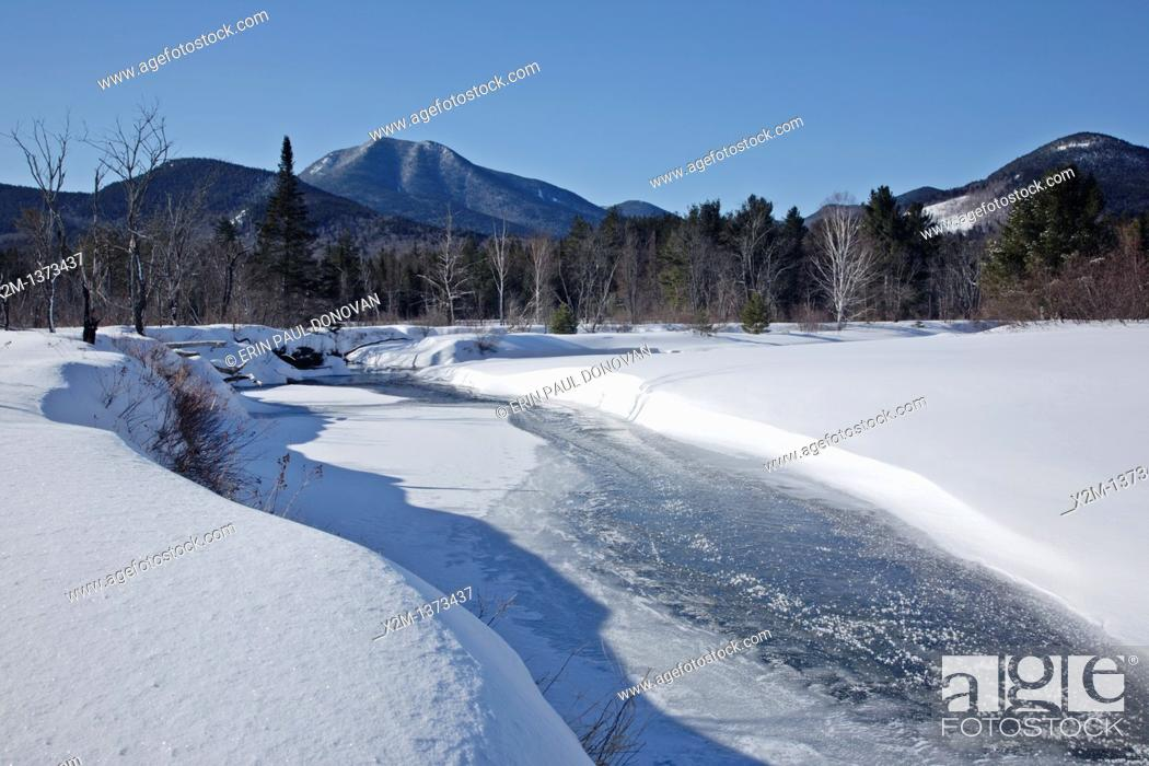 Stock Photo: Swift River during the winter months  This river travels along side of the Kancamagus Highway route 112 which is one of New England's scenic byways in the White.