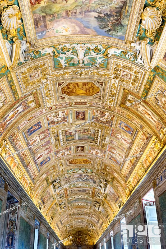Carte Rome Vatican.Stucco Ceiling With Frescoes Of The Galleria Delle Carte