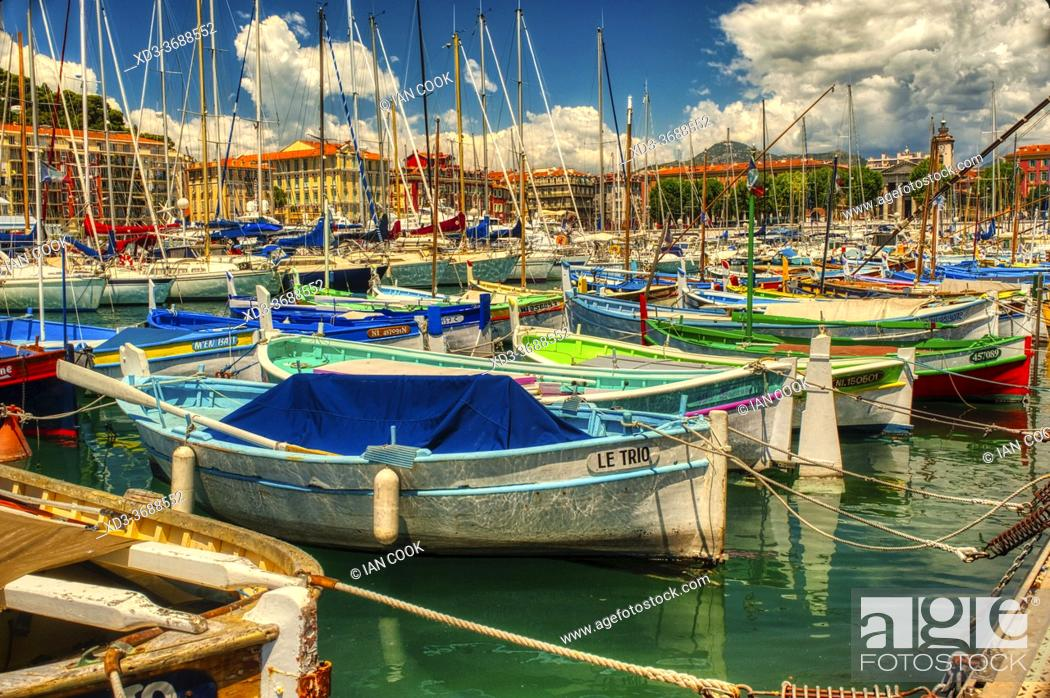 Stock Photo: small boat harbour, Nice, Cote d«Azure, France.