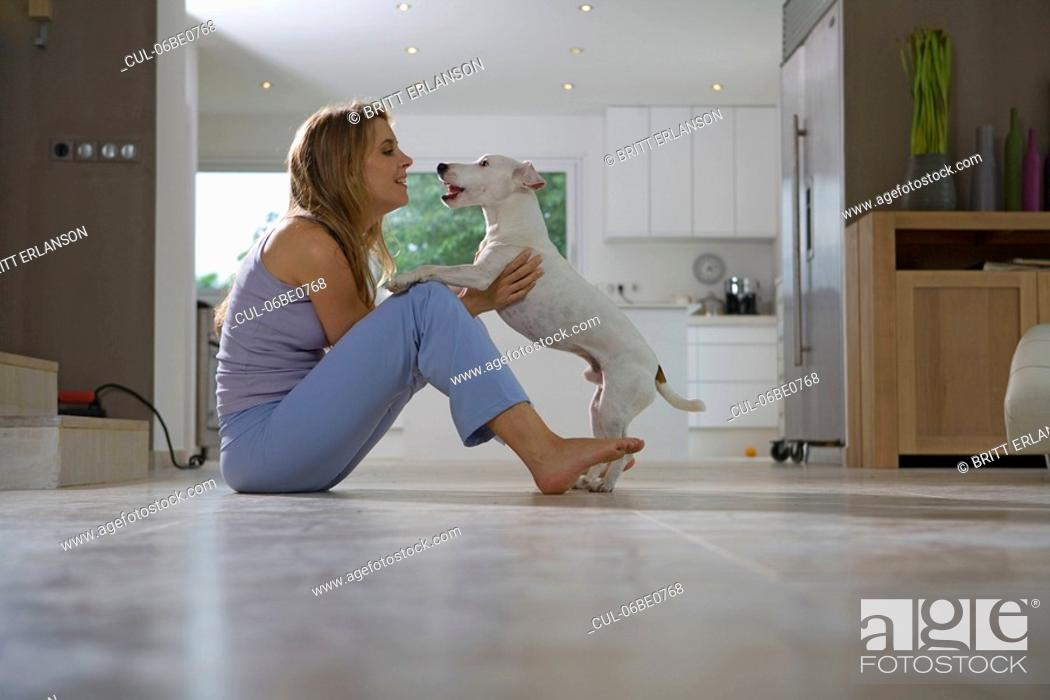 Stock Photo: Woman and dog.