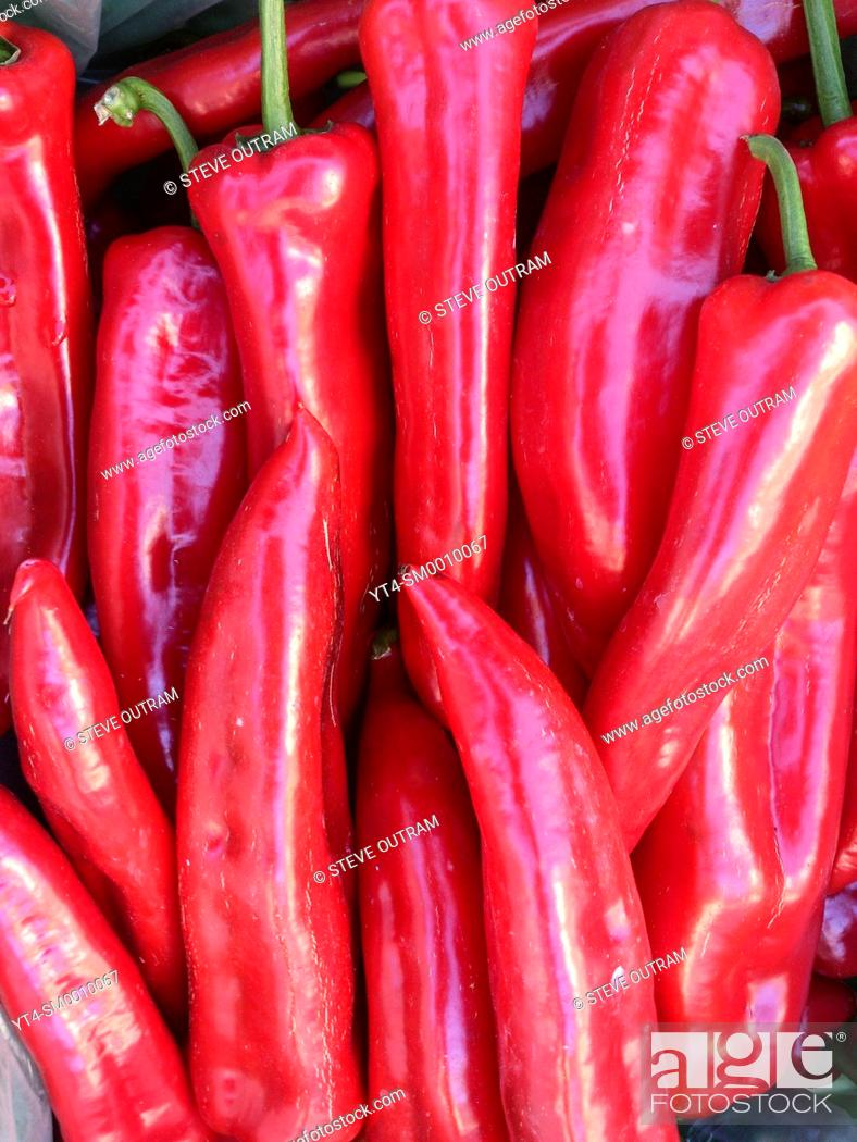 Stock Photo: Fresh Red Chili Peppers for sale, Crete, Greece.