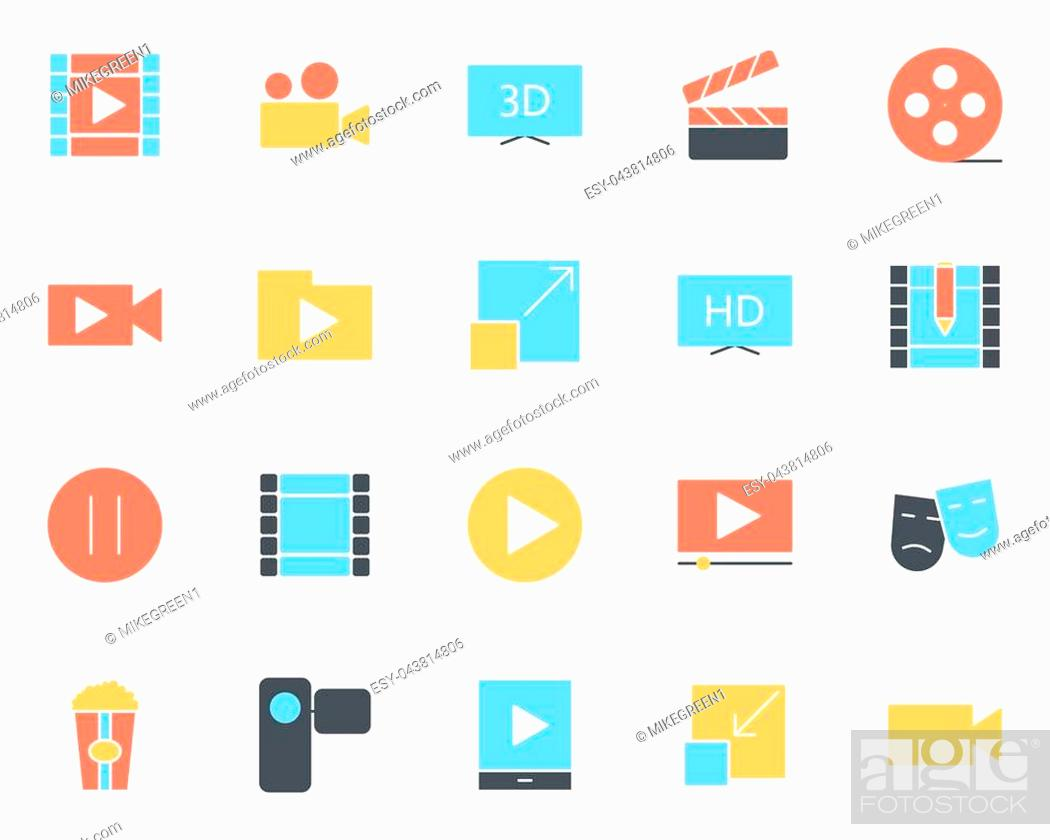 Stock Vector: Video silhouette icons set. 96x96 for Web Graphics and Apps. Simple Minimal Pictograms. Vector.