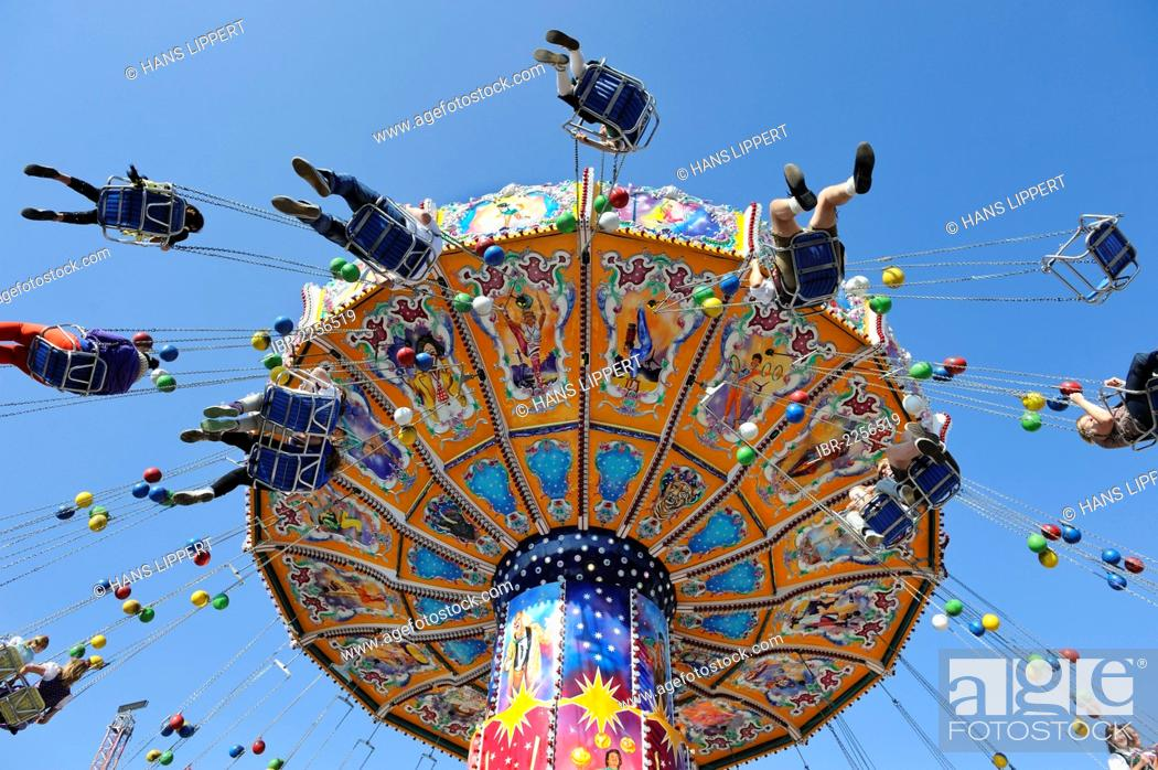 Stock Photo: Swing carousel, chairoplane, Oktoberfest, Munich, Upper Bavaria, Bavaria, Germany, Europe.