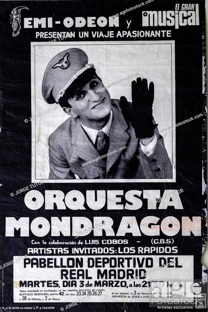 Stock Photo: Orquesta Mondragon, Madrid tour 1981, Musical concert post.