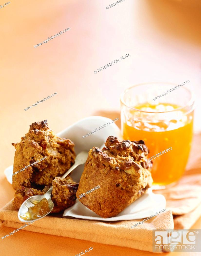 Stock Photo: Whole Grain Muffin, Halved with Marmalade, Spoon.