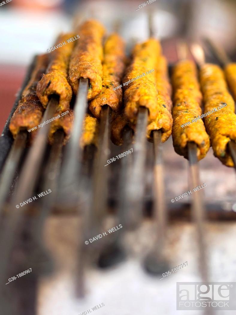Stock Photo: Kebab making in Bangalore, India.