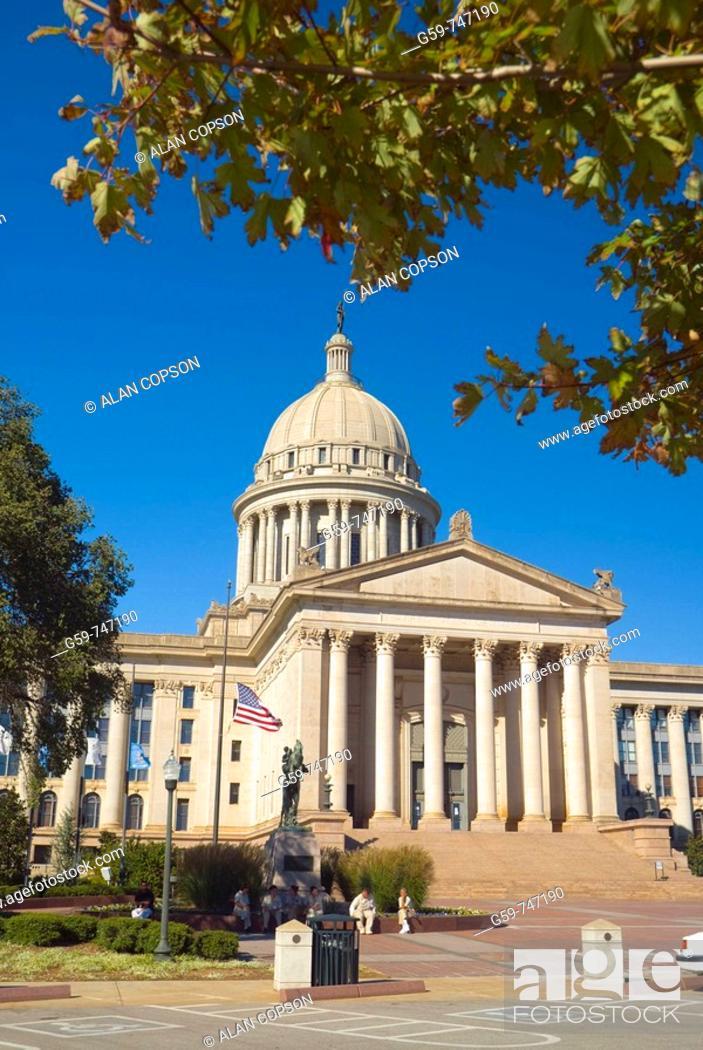 Stock Photo: USA Oklahoma Oklahoma City Oklahoma State Capitol Building.