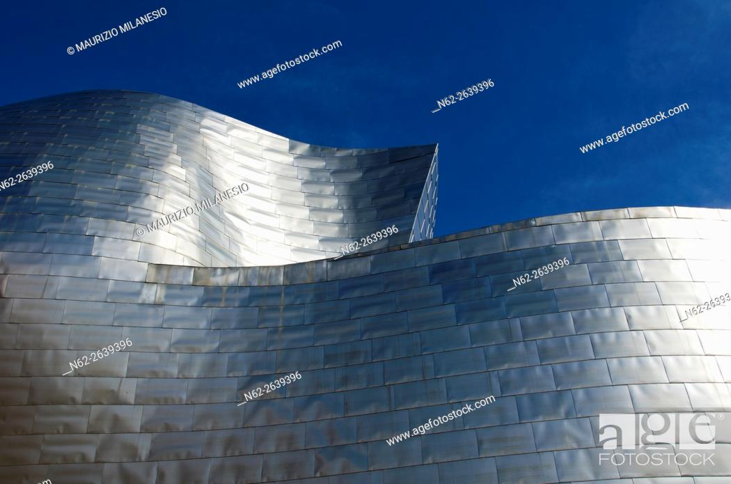 Stock Photo: Details of the Guggenheim Museum built in 1997 by canadian architect Frank Gehry, Bilbao, Spain, Euskadi, Biscaya.