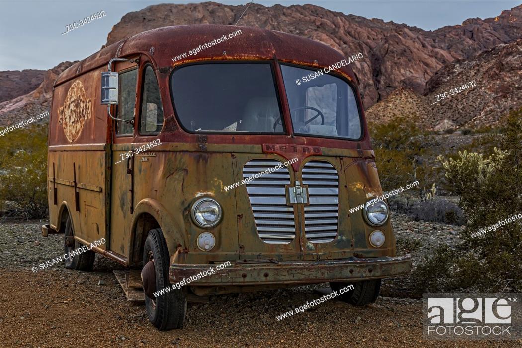 Stock Photo: International Harvester A120 Metro Van Delivery Truck.