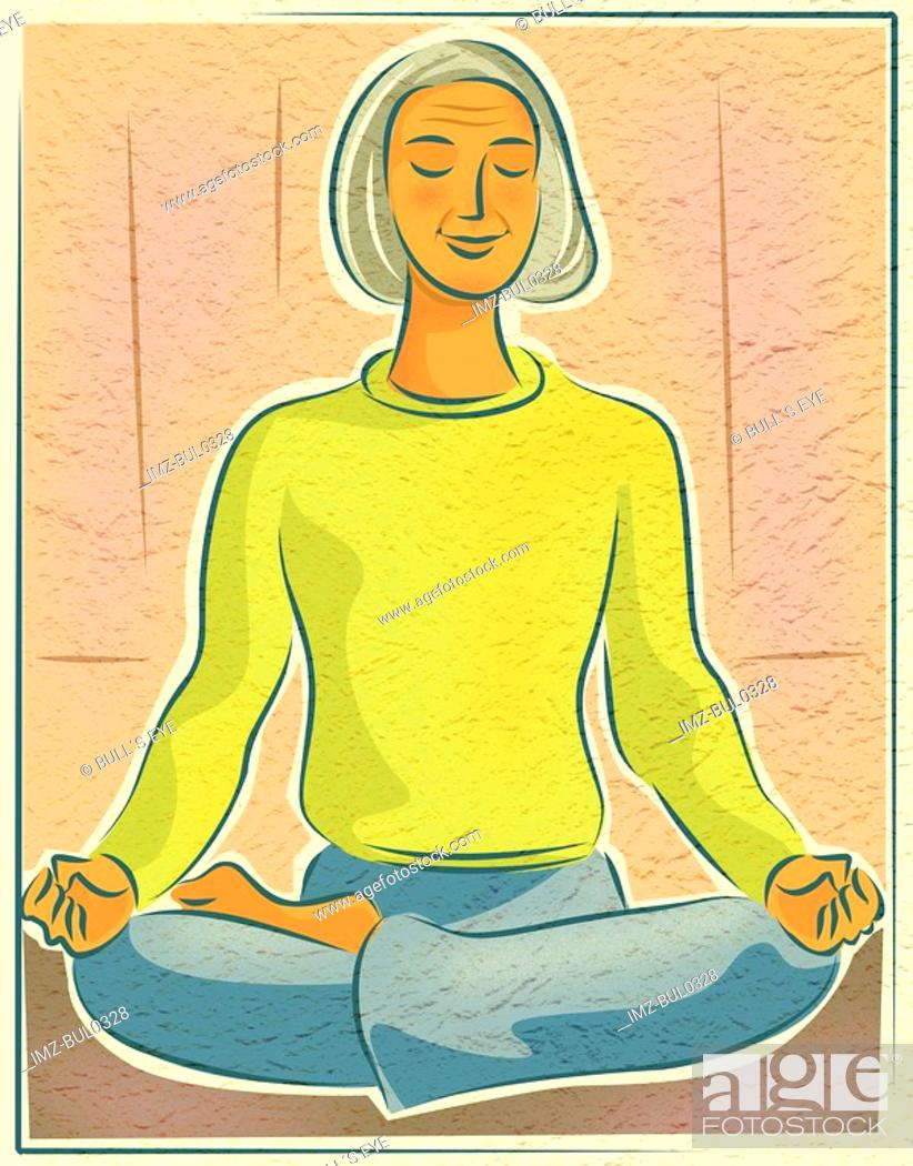 Stock Photo: An elderly woman doing yoga meditation in the lotus position.