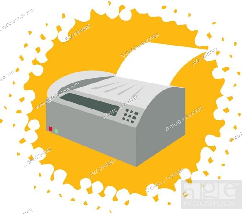 Stock Photo: Drawing of a fax machine on yellow background.