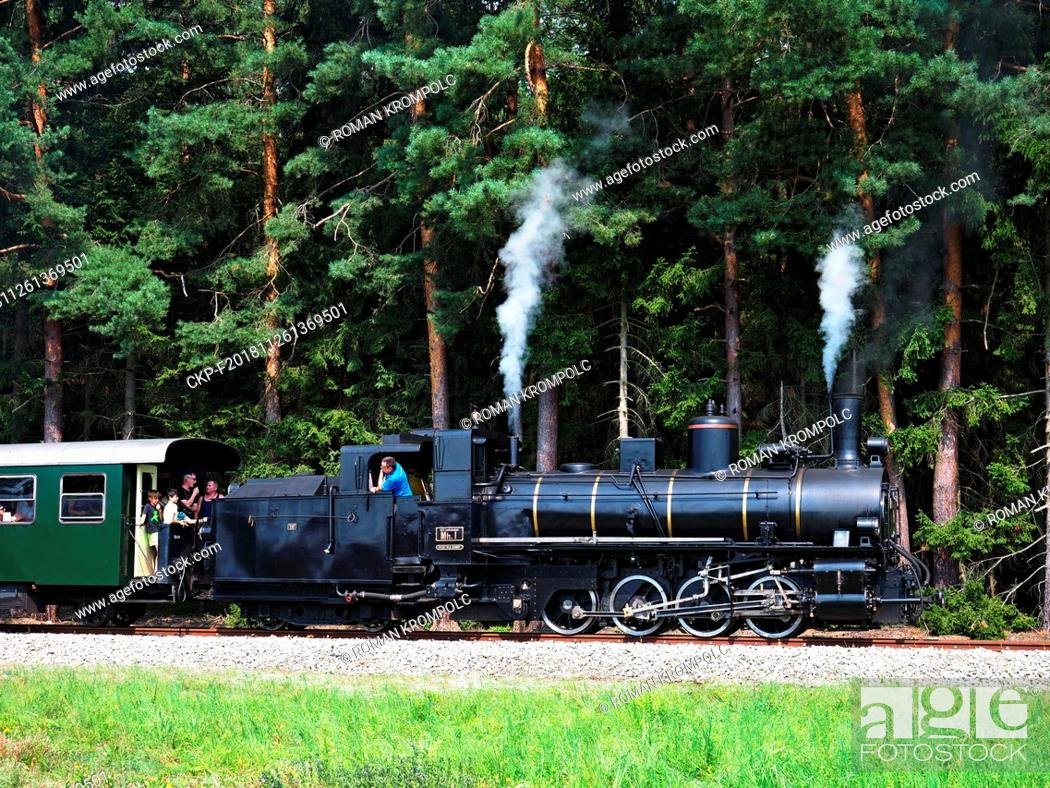 Stock Photo: Tourist attraction - a steam locomotive. Smoke and steam goes from the locomotive. The engineer in a blue T-shirt leans to the side.