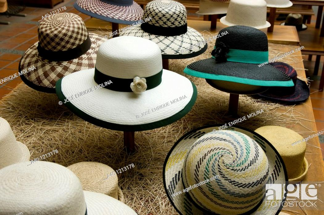 Stock Photo: Ecuador. Cuenca city. Hat shop craftsmen.