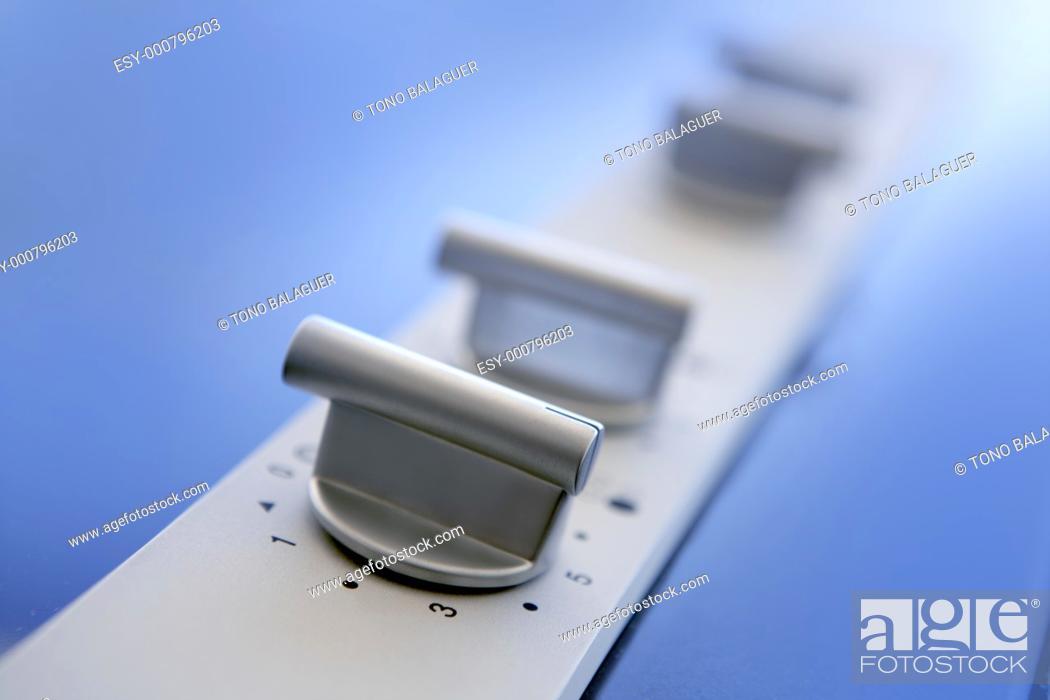 Stock Photo: Hob vitroceramic stove kitchen modern detail perspective blue sky reflection.