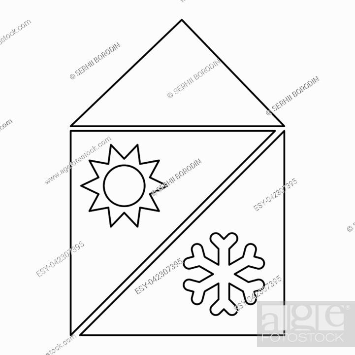 Stock Vector: Home cooling and heating system.