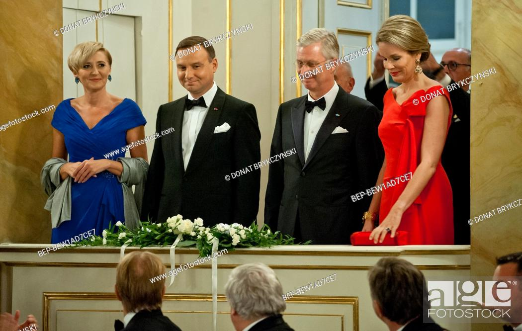 Stock Photo: The Royal £azienki Museum, Warsaw 14th October, 2015. Official visit to Poland paid by His Majesty the King of the Belgians and Her Majesty the Queen of the.