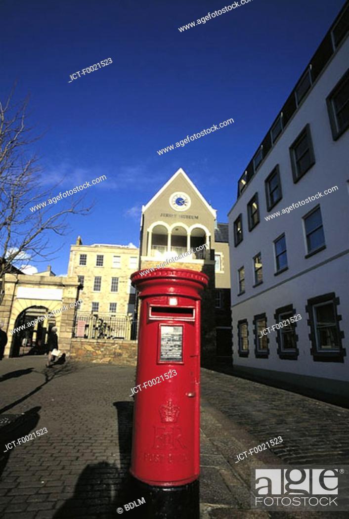Stock Photo: Channel Islands, Jersey, St Helier museum, Post pillar box.