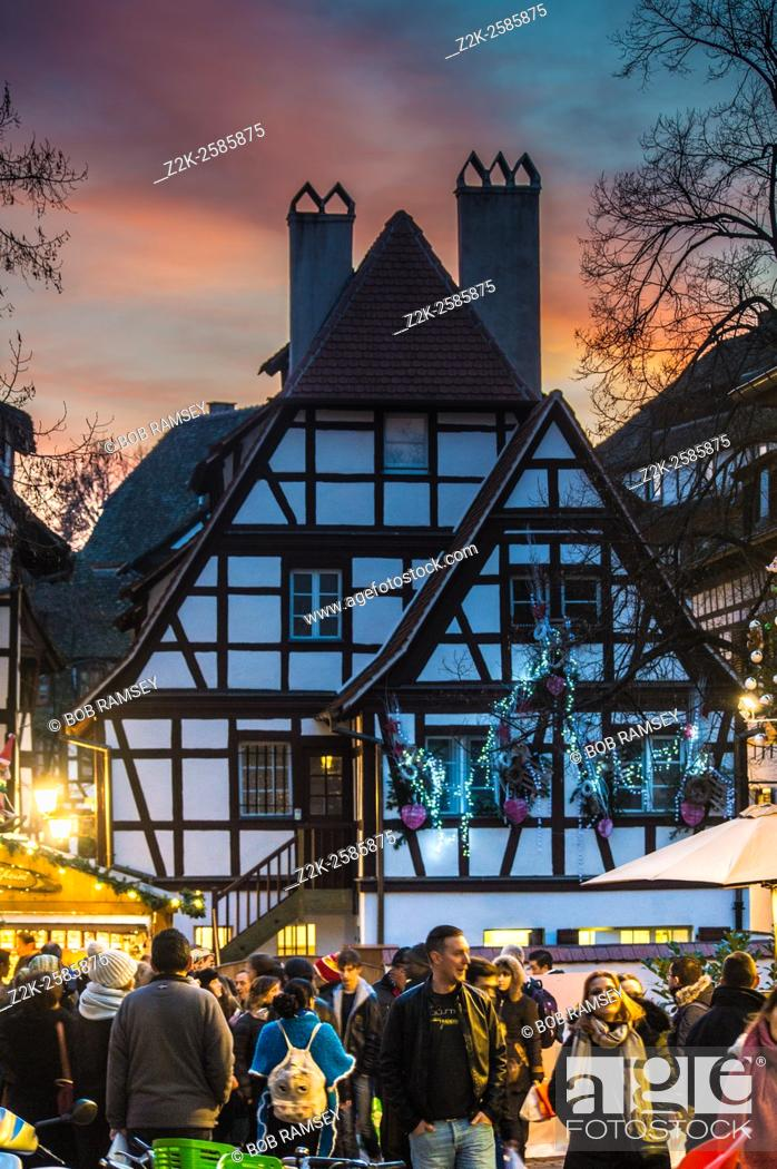 Stock Photo: View on people at the Strasbourg Christmas market.