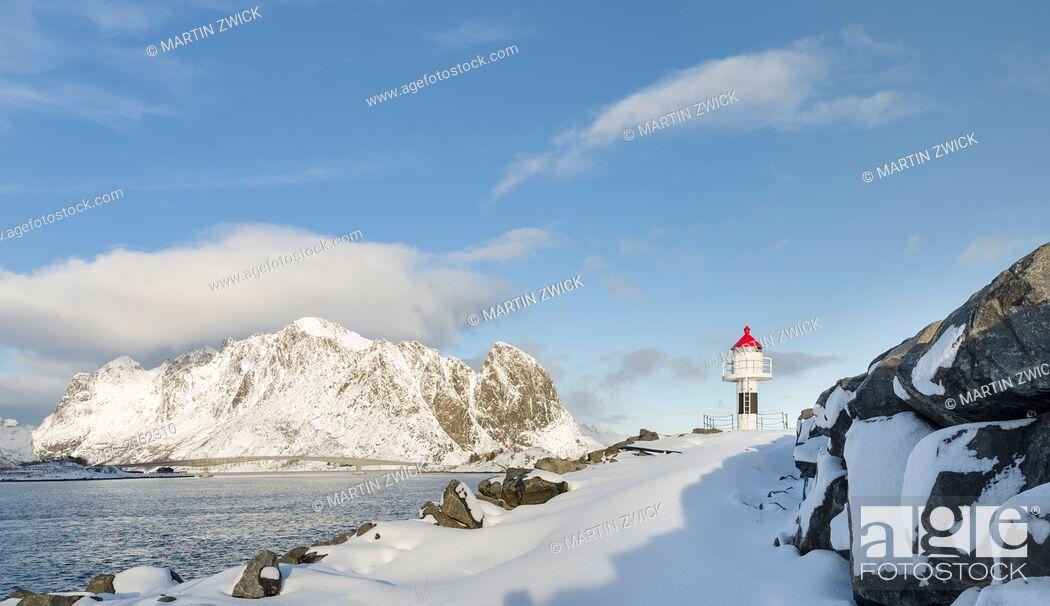Stock Photo: Village Reine on the island Moskenesoya. The Lofoten Islands in northern Norway during winter. Europe, Scandinavia, Norway, February.