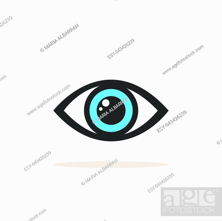 Vector: Blue eye icon with shade on a white background. Vector illustration.