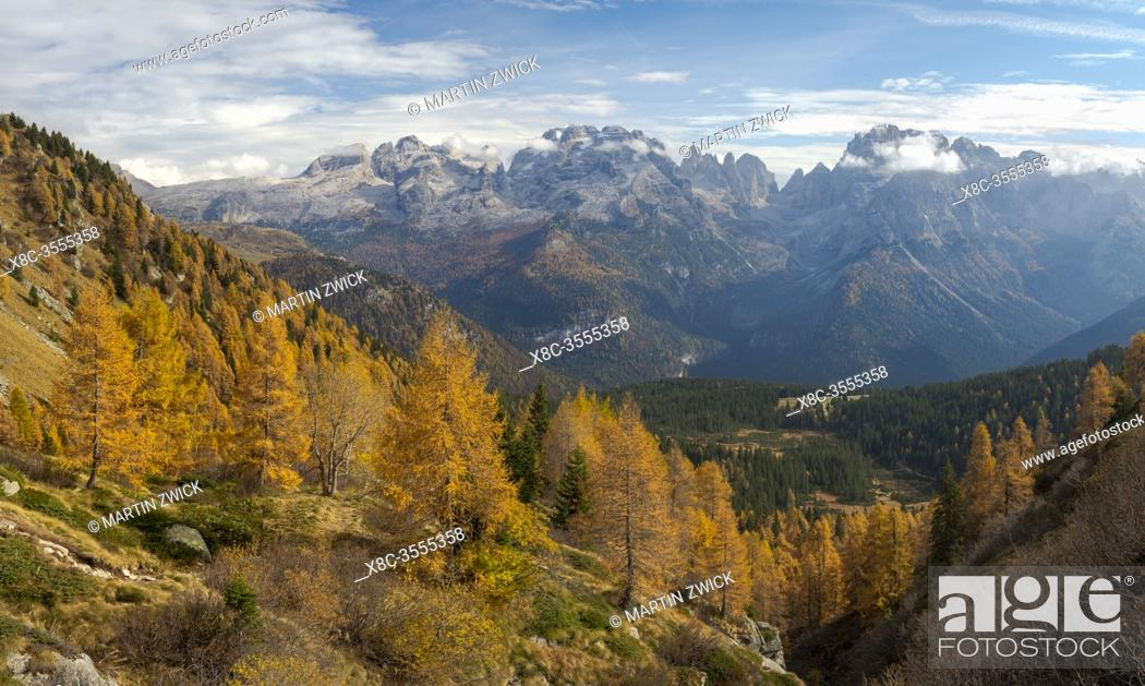 Stock Photo: The summits of Brenta mountain range towering above Madonna di Campiglio. Brenta group in the Dolomites, part of UNESCO world heritage The Dolomites.