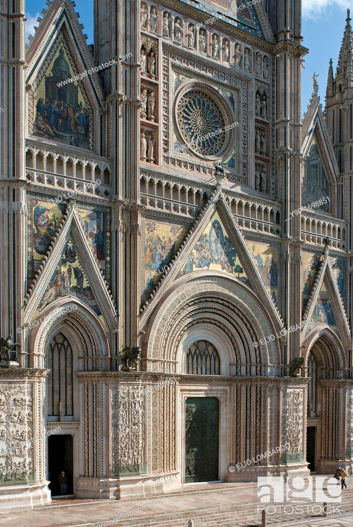 Stock Photo: Orvieto Cathedral  Detail of facade  Orvieto  Terni Province  Umbria  Italy.