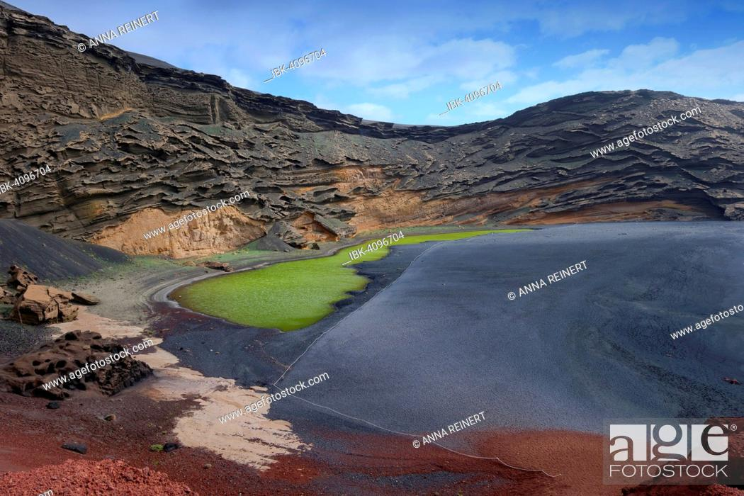 Stock Photo: Green lagoon, Lago Verde, volcanic lake coloured green from algae, lava beach, Charco de los Clicos, caldera of El Golfo, Lanzarote, Canary Islands, Spain.