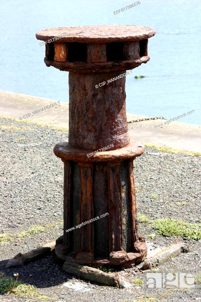 Stock Photo: Old Rusting Capstan.