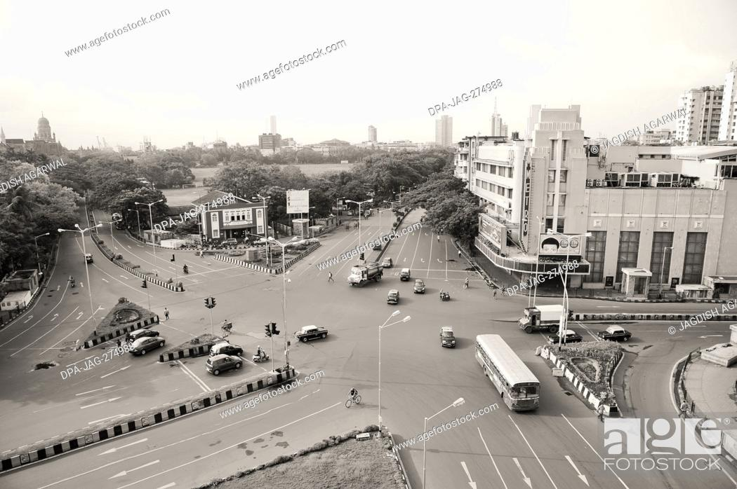 Stock Photo: Aerial view of intersection, Metro Cinema Building, Art Deco Movie Theatre, Dhobi Talao, Mumbai, Maharashtra, India, Asia.
