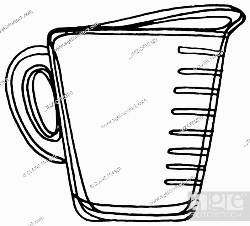 Stock Photo: A black and white illustration of a measuring cup.