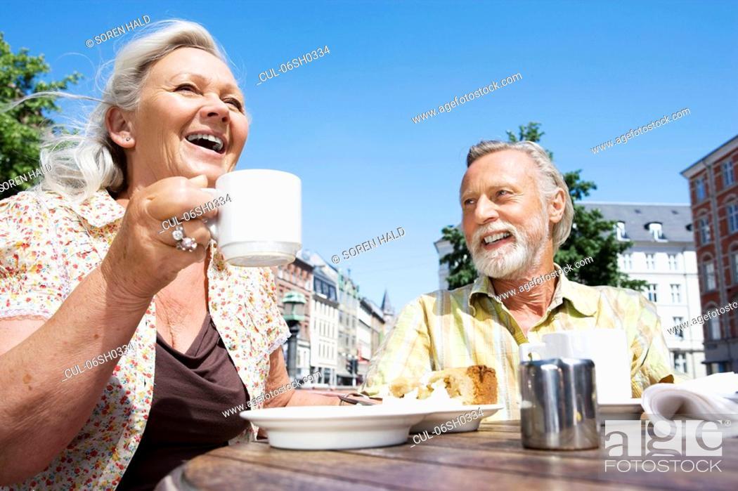 Stock Photo: Couple drinking coffee.