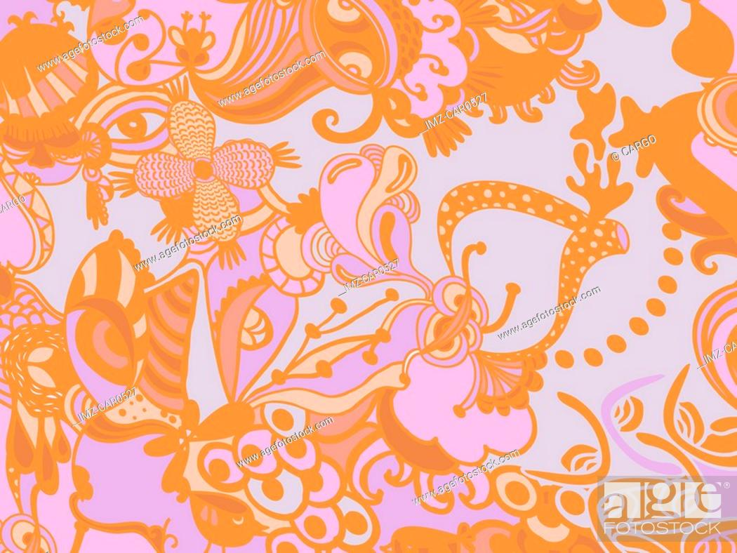 Stock Photo: A blue, orange and pink whimsical floral background.