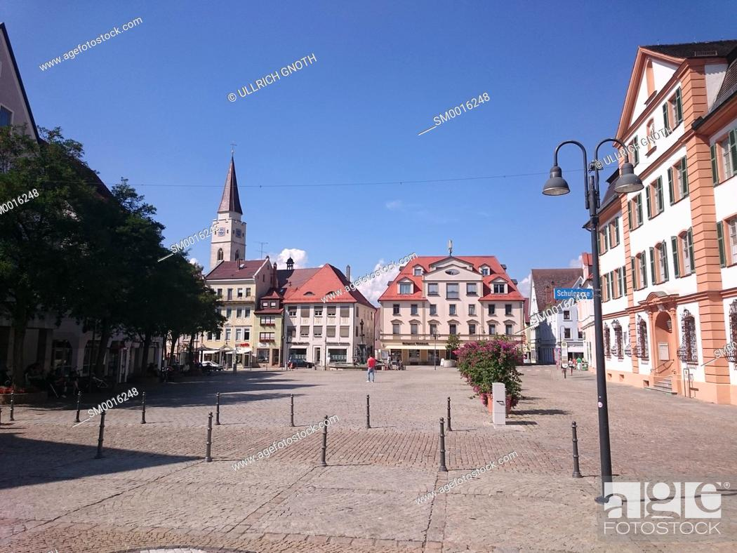 Stock Photo: View across the market square of the town of Ehingen, Baden-Wurttemberg, Germany.