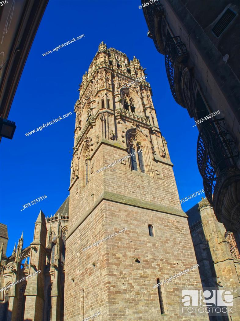 Stock Photo: Cathedrale Notre Dame d Assomption de Rodez, Rodez, Aveyron Department, Occitanie, France.