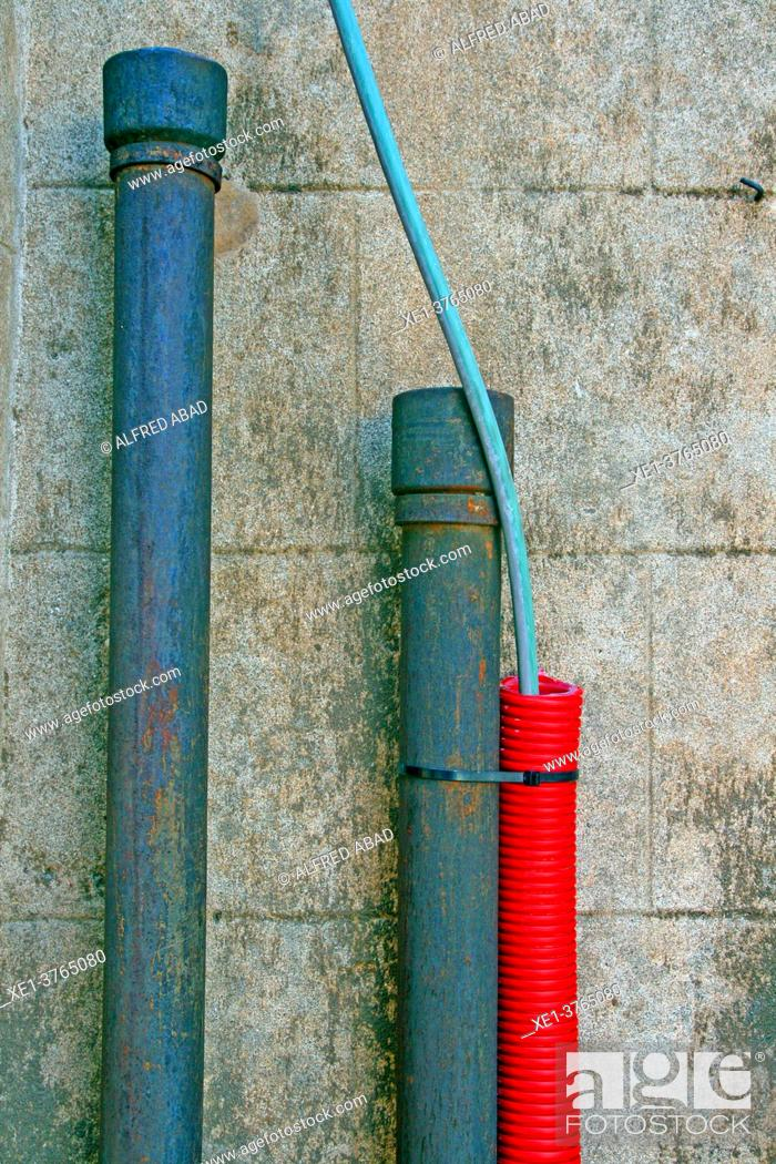 Stock Photo: cables and pipes, Portbou, Catalonia, Spain.