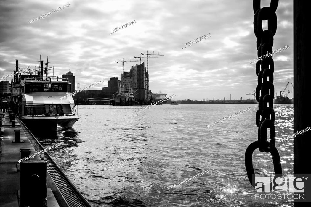 Stock Photo: Hamburg harbor, Germany.