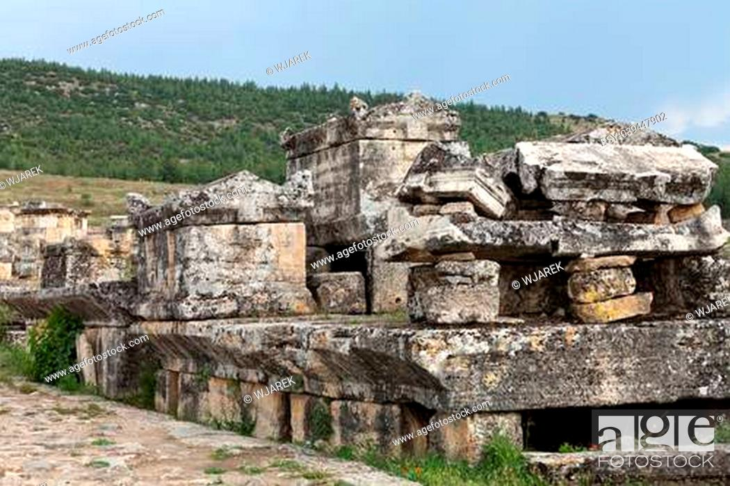 Stock Photo: ruins of the ancient city of Hierapolis.