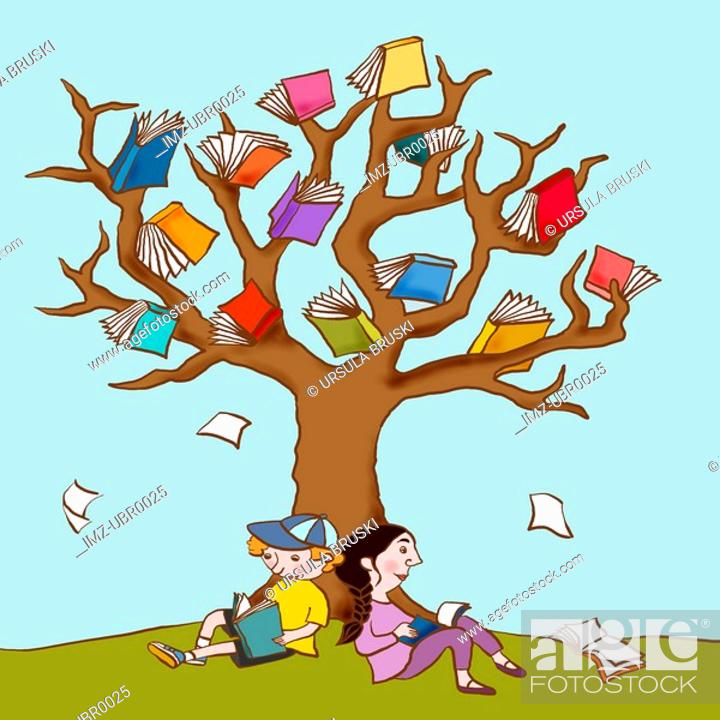 Stock Photo: Two children resting under the book covered branches of a large tree.