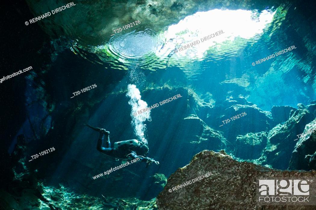 Stock Photo: Cave Diver in Chac Mool Cenote, Playa del Carmen, Yucatan Peninsula, Mexico.