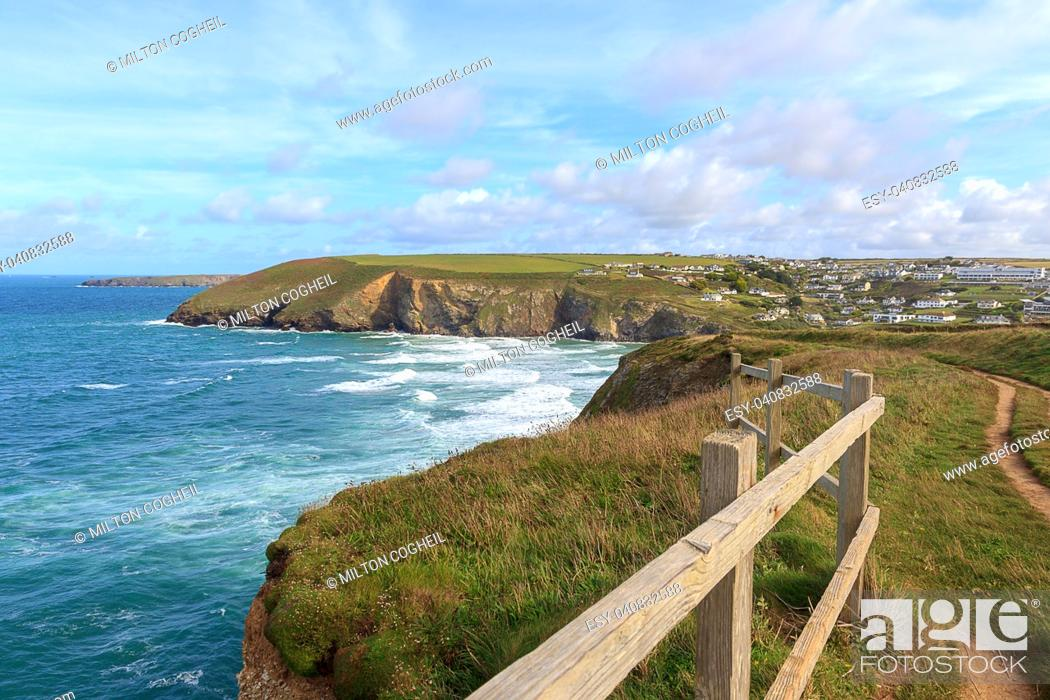 Stock Photo: A landscape view of Mawgan Porth from the South West Coast Path, North Cornwall along the Atlantic coast near Newquay.