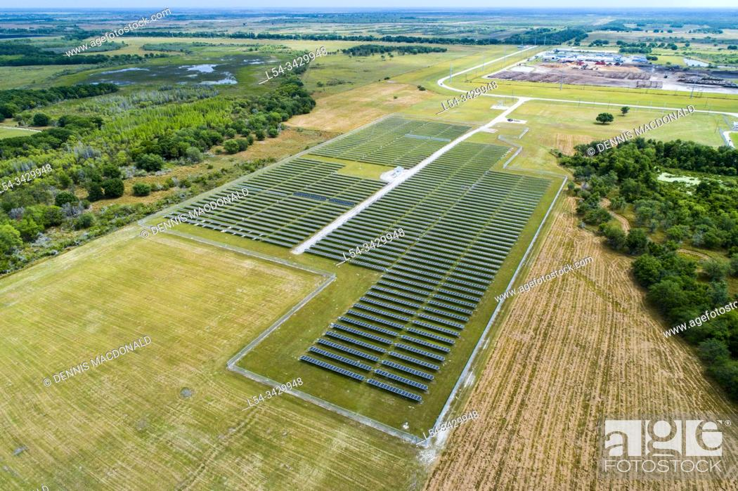 Stock Photo: Drone aerial view of a Solar Power station in Hardee County, Florida.
