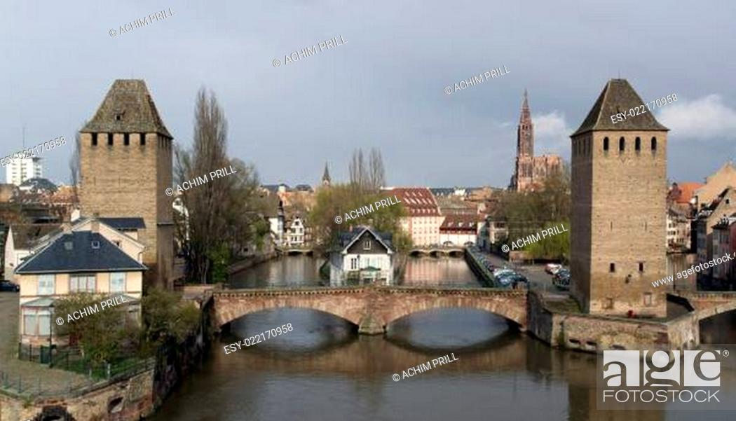 Stock Photo: Strasbourg scenery in cloudy ambiance.