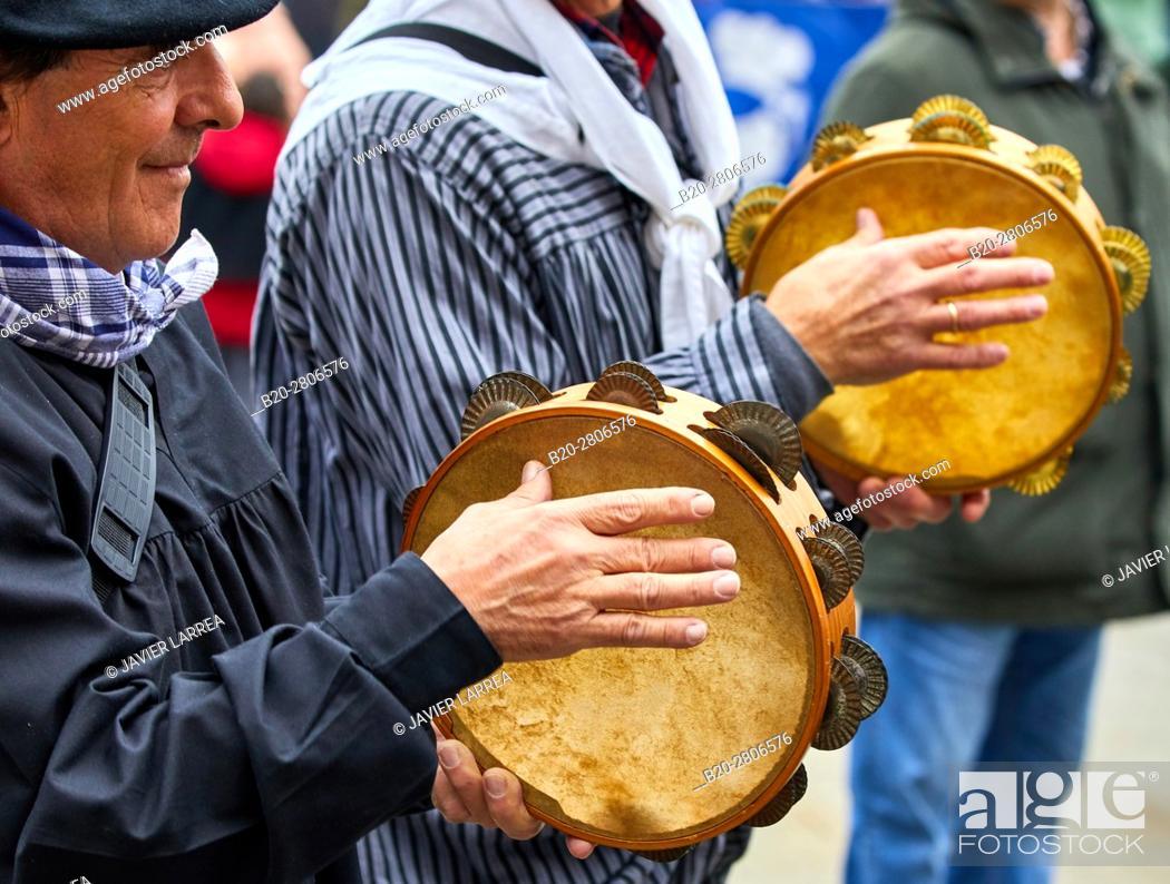Stock Photo: Tambourines, part of  traditional Trikiti ensemble. Feria de Santo Tomás, The feast of St. Thomas takes place on December 21.
