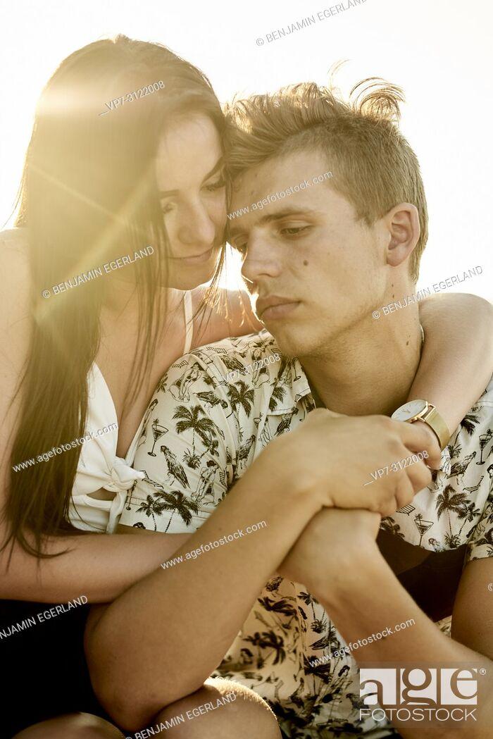 Photo de stock: Couple, love, emotions, relationship, mood. Chersonissos, Crete, Greece.