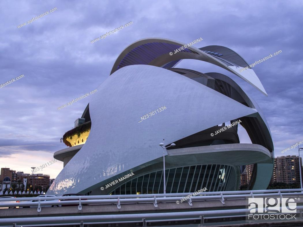 Stock Photo: Palau de les Arts Reina Sofia opera house, City of Arts and Sciences, Valencia, Spain.