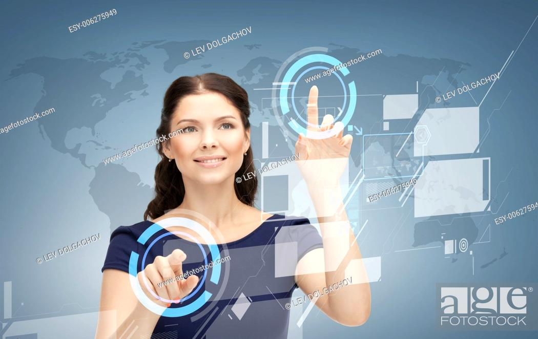 Stock Photo: business, future, education and technology concept - smiling young businesswoman or student working with virtual screen.