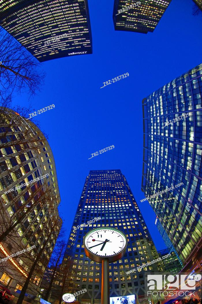 Stock Photo: Office buildings and skyscrapers including One Canada Square around Canary Wharf at sunset, Isle of Dogs, London, England.