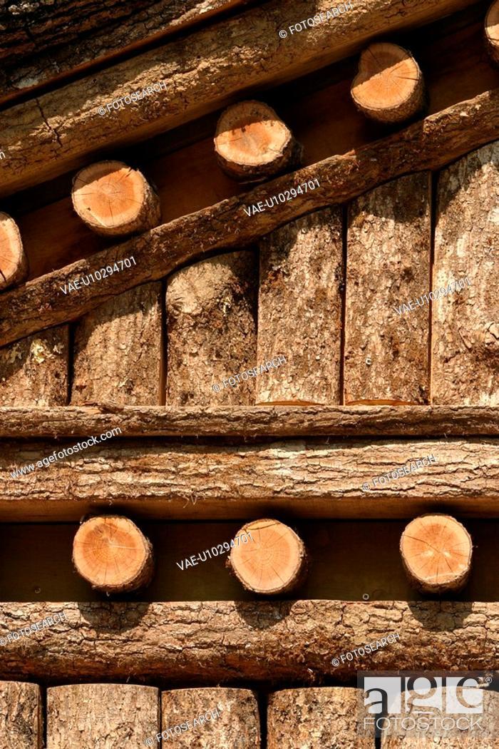 Stock Photo: village, natural, environment, arrangement, wood, wooden logs.