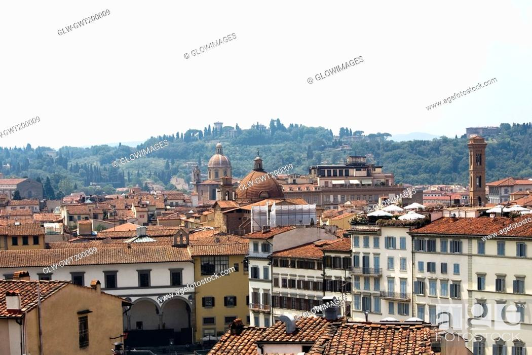 Stock Photo: High angle view of buildings in a city, Florence, Tuscany, Italy.